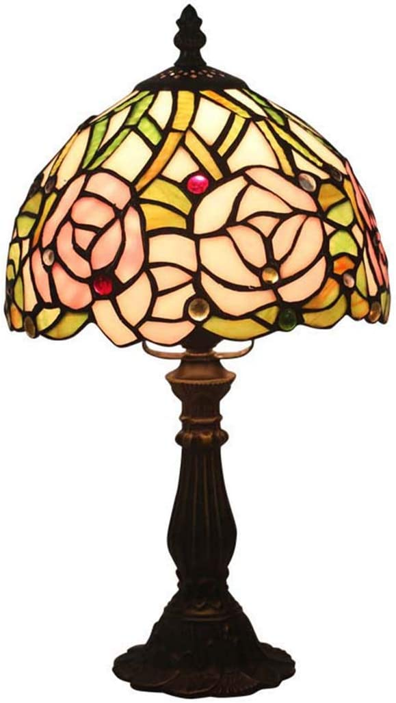 Tiffany Style Rose Table Lamp, Vintage