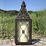 Whole House Worlds The French Country Style Hurricane Candle Lantern, Tempered Glass, Detailed Chateaux Roof, Cross Post Panel, Loop Hanger, Sturdy Rustic Iron, Over 2 1/2 Ft Tall, By For Sale
