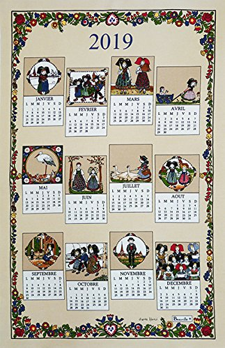 Beauvillé, 2019 Annual French 12 Month Calendar - Calendrier d'après Hansi - French Alsace Kitchen/Tea Towel, Silk Screen Hand Printed, All in French