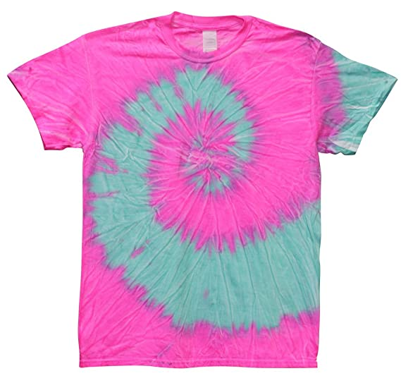3541e416 Thunder Tie-Dye Shirt Neon Pink Blue at Amazon Men's Clothing store: