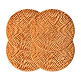 """Woven Trivet for Hot Dishes-Insulated Hot Pads,4 Pcs Unique Present for Friends,Housewarming,Birthday,Living Room Decor,Holiday Party, (7.87"""" Round)"""