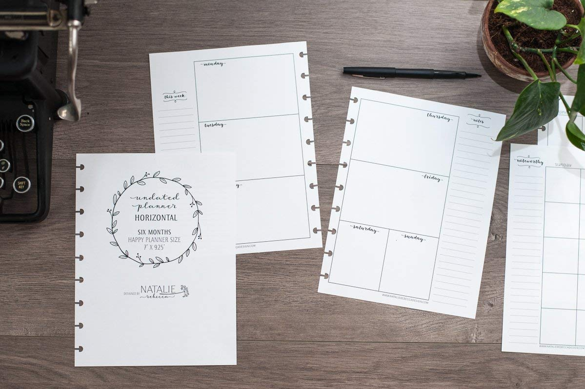Horizontal Undated Calendar Inserts for The Happy Planner, Fits 9-Disc Notebooks (Notebook Not Included)