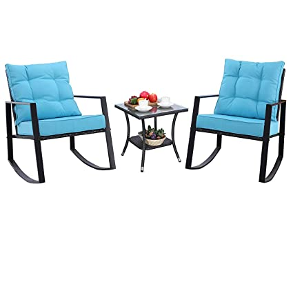 Amazing Do4U Outdoor Rocking Chair Set 3 Piece Patio Bistro Set Outdoor Furniture Porch Chairs Conversation Sets With Coffee Table Turquoise Ibusinesslaw Wood Chair Design Ideas Ibusinesslaworg