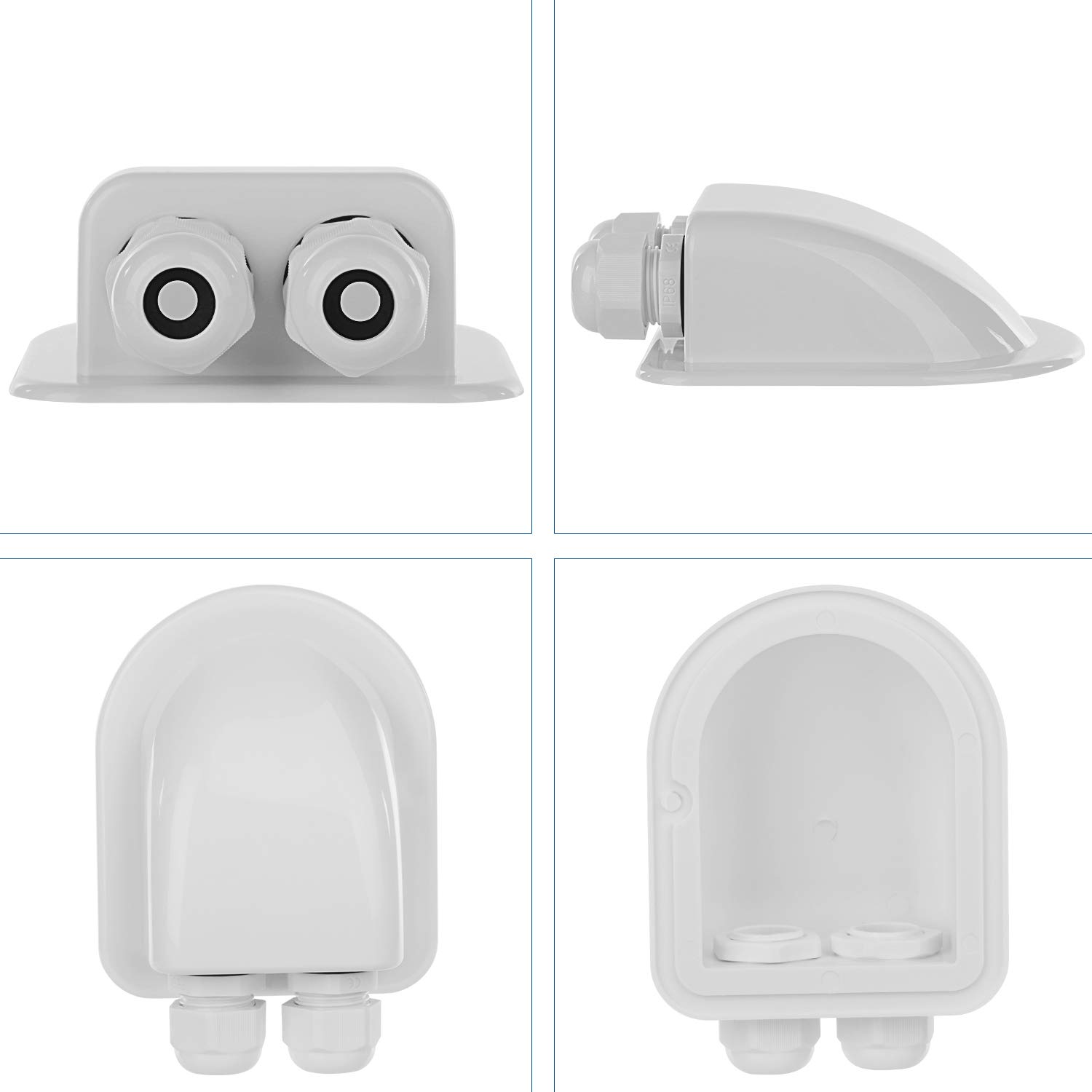 White Fit for 6mm to 12mm Cable Caravan 2 Pack Mountable Weather Resistant Sealing Box for Solar Panels of RV Restmo IP68 Waterproof Solar Double Cable Entry Gland Cabin and More Boat Marine