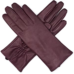 a5f046b3331e9 Harssidanzar Womens Luxury Italian Leather Gloves Vintage Finished Cashmere  Wool Lined