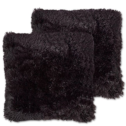 Sweet Home Collection Plush Pillow Faux Fur Soft and Comfy Throw Pillow (2 Pack), Black (Black Throw Pillows)