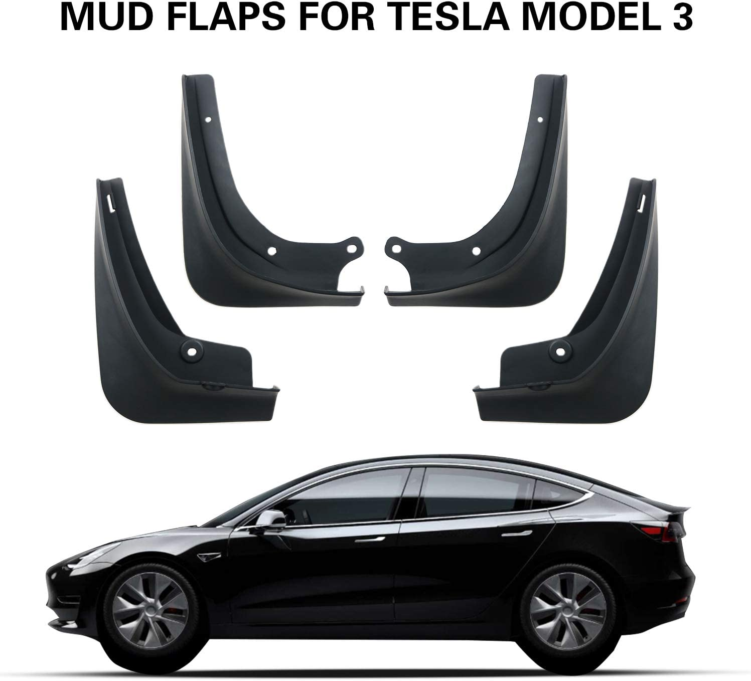 Mud Flaps For Tesla Model 3 2016-2019 Splash Guards Fender Front+Rear White