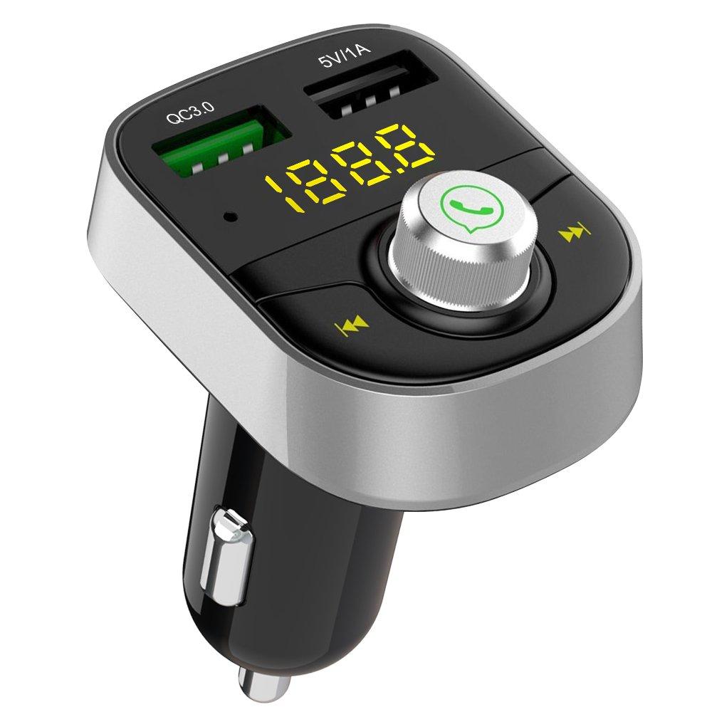 Transmisor FM Bluetooth, 8 en 1 Inalá mbrico Manos Libres Bluetooth Adaptador de Coche Kit, Cargador de Coche QC 3.0 (Doble Puerto USB), Reproductor de MP3 & U Disco Funció n (82S) Reproductor de MP3 & U Disco Función (82S) GRDE