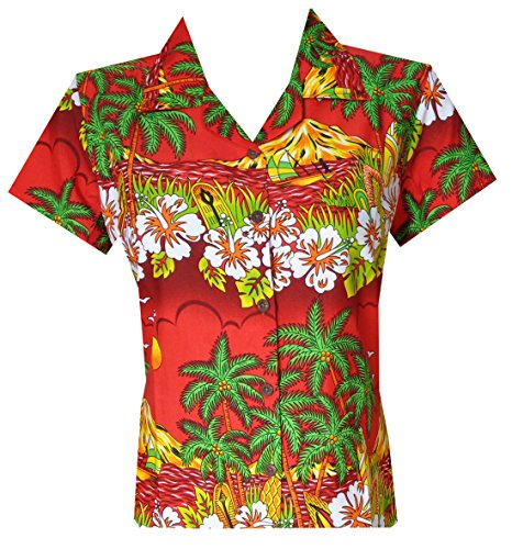 Hawaiian Shirts 44W Womens Floral Scenic Beach Aloha Top Blouse Red S ()