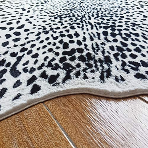 JACCAWS Large Size Leopard Print Rug 4.6 x 6.6 Feet Faux Fur Leopard Hide Rug Animal Printed Rug Carpet for Home Office Livingroom,Bedroom. Leopard