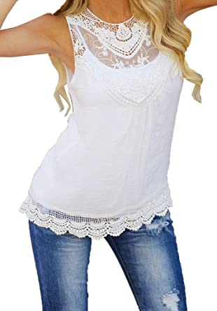 4eacaf73640729 Women Summer Vest Top Sleeveless Blouse Lace Casual Tank Tops T-Shirt:  Amazon.co.uk: Clothing