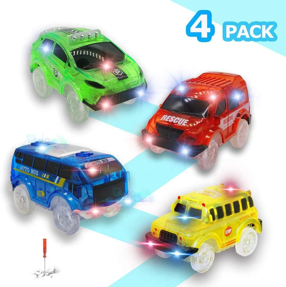 Track Cars for Kids, 4 Pack Replacement Track Cars Compatible with Magic Tracks Glow in the Dark, Toy Cars with 5 Flashing LED Lights for Most Race Tracks Only Light Up Toy Cars Track Car Accessories