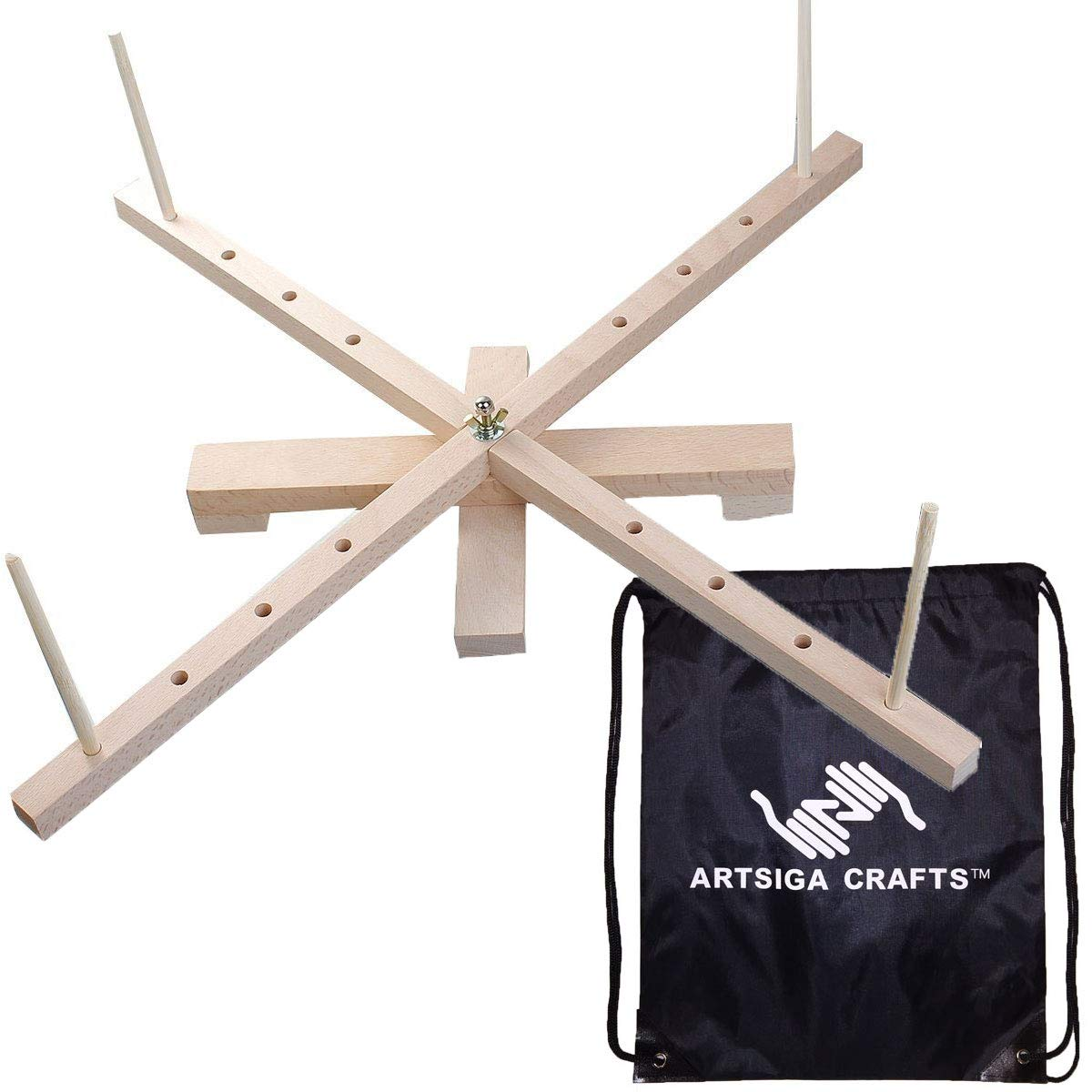 Artsiga Knitting Tools Tabletop Amish Style Wooden Yarn Swift Large 24 inches Long with 13 x 16 inch Project Bag