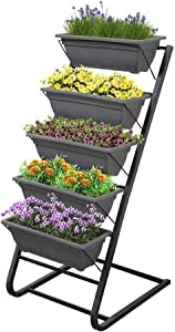 Blueberry Hill 4-Ft Vertical Garden Freestanding Elevated Planter with Stand 5 Planting Pots, Patio Or Balcony Outdoor and Indoor Planter Box, Great to Grow Flowers, Herbs & Vegetables.