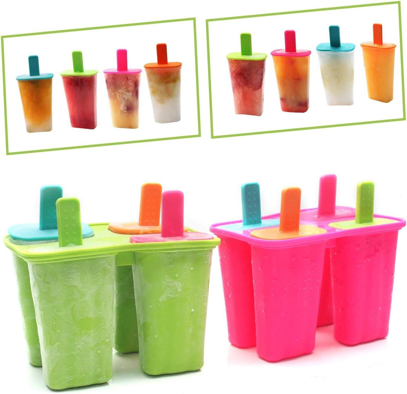 Gr/ün+Rosenrot, Popsicle Formen Set,BPA Frei EIS am stiel Formen FDA-Zertifiziert Lebensmittelqualit/ät Silikon-EIS-Pop-Hersteller,Ice Lolly Mold mit Sticks und Tropfschutz DEHUB Eisformen Silikon