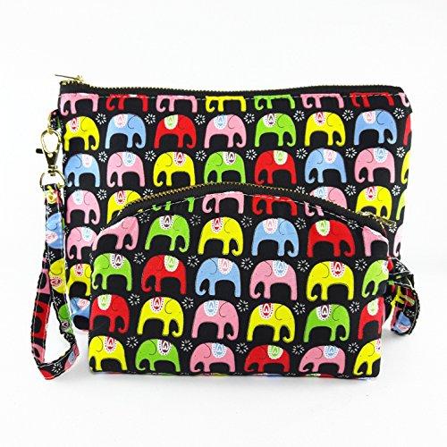 Handbag Coin Purse Elephant Fabric Print 2 Size Zipper Closer Key Card Lady Cosmetic - Transparent Bag Prada