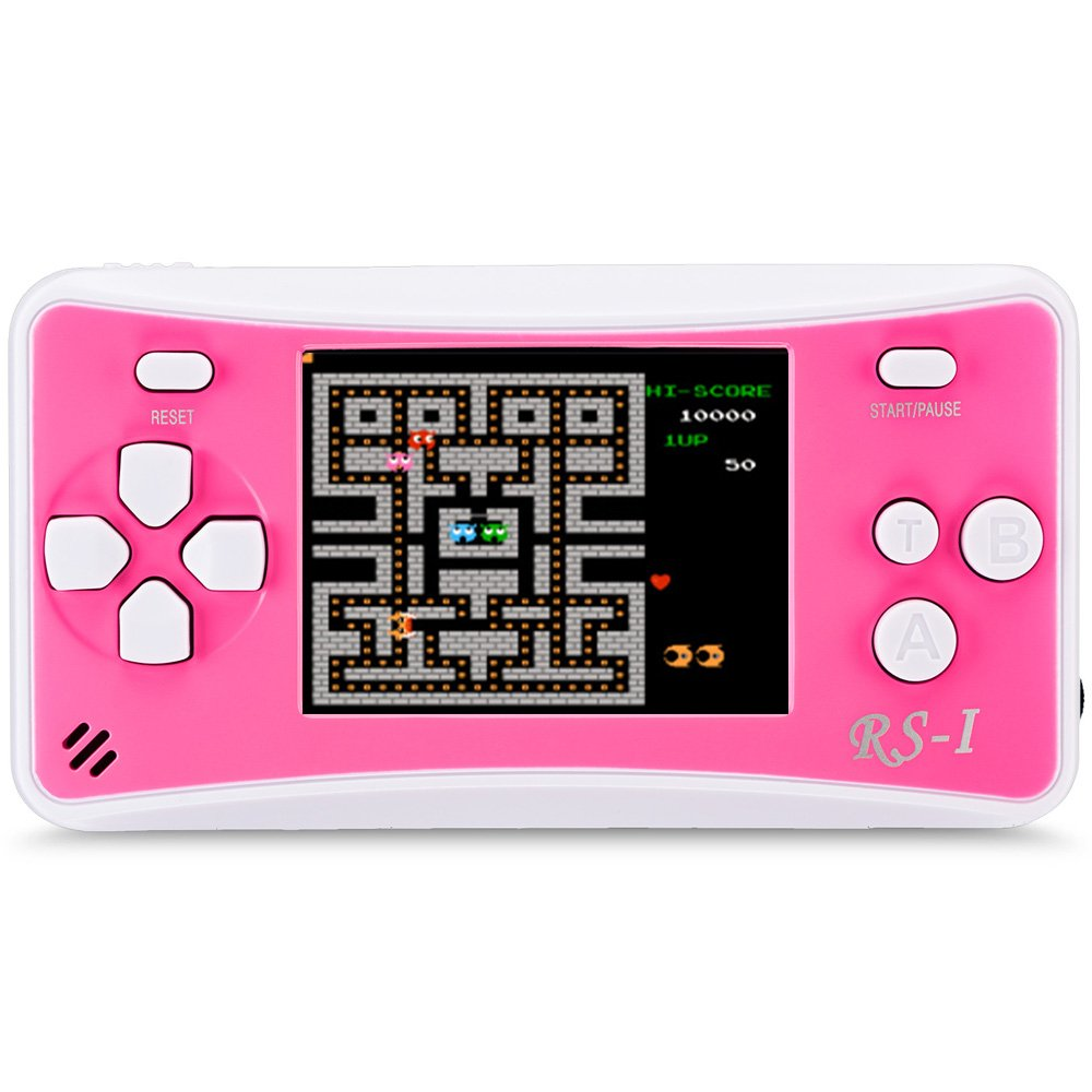 JJFUN RS-1 Handheld Game Console for Children,Retro Game Player with 2.5'' 8-Bit LCD Portable Video Games,The 80's Arcade Video Gaming System,Built-in 152 Classic Old School Games Entertainment-Pink