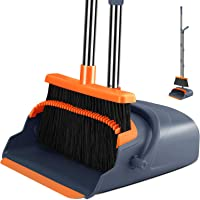 Kelamayi Broom and Dustpan Set with 55.9 inch Long Handle for Indoor Outdoor Garage Kitchen Room Office Lobby Use