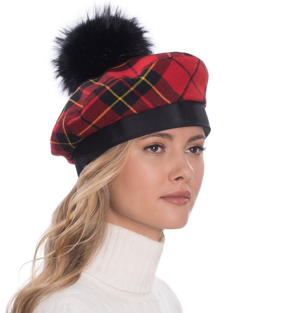 Eric Javits Luxury Fashion Designer Women's Headwear Hat - Tartan Beret w/Pom Pom - Red/Black