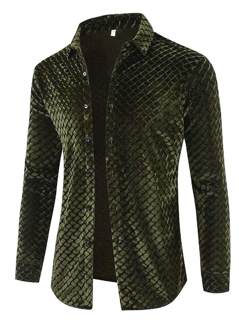 Fubotevic Mens Button Down Velvet Slim Stylish Formal Dress Shirts