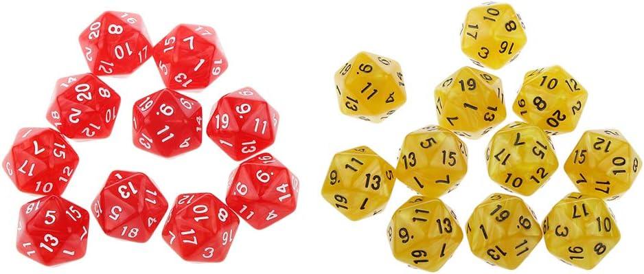 FLAMEER D20 Dados de Número Accesorios Juguetes para Juego de Mesa Tablero Juegos de rol - Rojo + Amarillo: Amazon.es: Juguetes y juegos