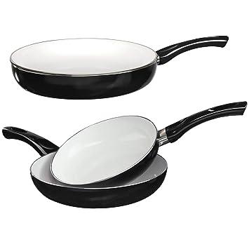 Cooks Professional - Juego de 3 sartenes de cerámica antiadherente con base de acero inoxidable aptas para cocinas de gas y eléctricas negro: Amazon.es: ...