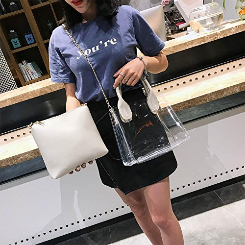White Chain Clear Jelly Bags Pvc Casual Widewing Women Beach Handbags Shoulder Messenger qHgp7a