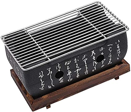Charcoal BBQ Grill Japanese-style Tabletop Barbecue Mud Furnace Portable Yakiniku Grill Rectangle with Wire Mesh Grill /& Hollowed Base
