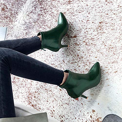 Pointu Kaiki Et Avec taille chaussures Talon Femmes En À Haut Pour 43 Vert Bottes 35 Femmes Courtes Peluche Bout Bottines w0qr5Aw