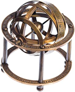 Aysha Nautical Brass Armillary Sphere with Stand, 9 cm High - Steampunk, Pirate or Vintage Decoration