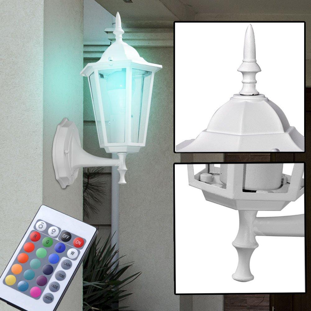 RGB LED Wandleuchte Außenlampe Laterne Fernbedienung Dimmer Terrasse Farbwechsel