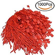 "7"" Red Hang Tag String Nylon String Snap Lock Pin Loop Fastener Hook Ties Easy and Fast to Attach 1000 Pieces"