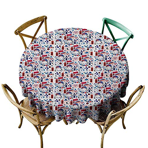 Jbgzzm Dust-Proof Round Tablecloth London Pattern with London Symbols Queen Elizabeth Umbrella Tea Party Map Travel Theme for Kitchen Dinning Tabletop Decoration D67 Multicolor ()