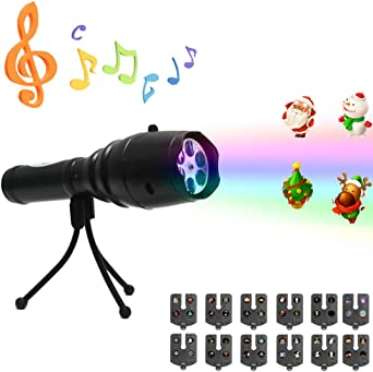 Proyector de mano linterna para niños LED Proyector luces música ...