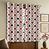 Custom design curtains/Vintage Lace Window Curtain/Grommet Top Blackout Curtains/Thermal Insulated Curtain For Bedroom And Kitchen-Set of 2 Panels(orations Poker Cards Advertising Holidays Getaways)