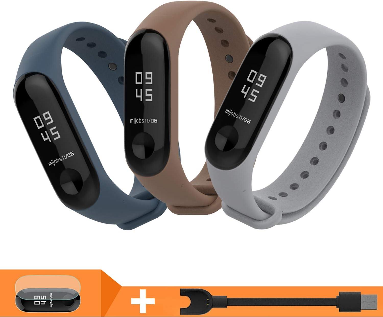 BDIG Bracelet de Montre pour Xiaomi mi Band 3 Mi Band 4,Sport Silicone Bracelets de Remplacement pour Miband 3 MiBand 4 activit/é de Remise en Forme 8PCS Sets A
