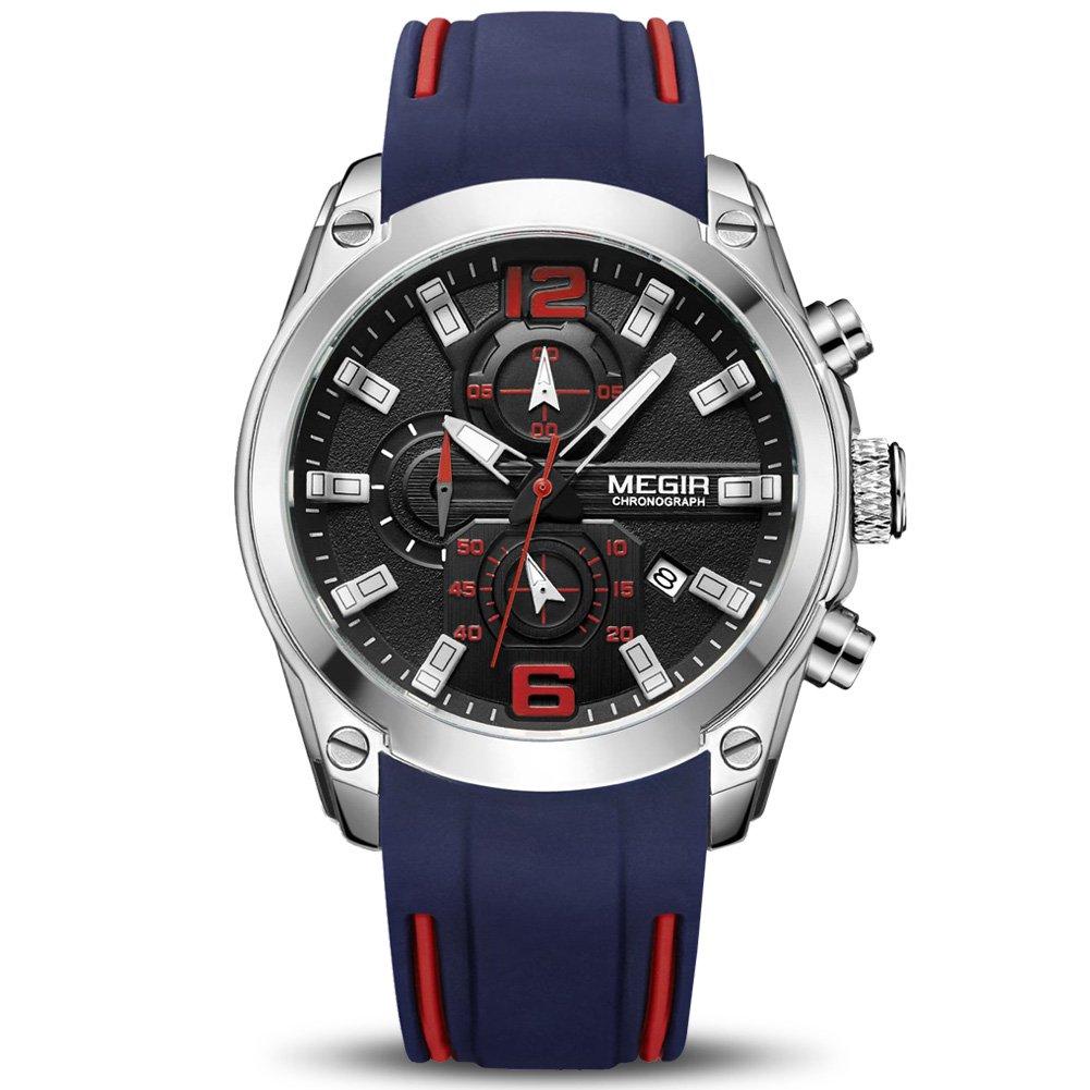MEGIR Men's Quartz Wristwatch Luxury Fashion Chronograph Sport Business Gift for Male (Blue)