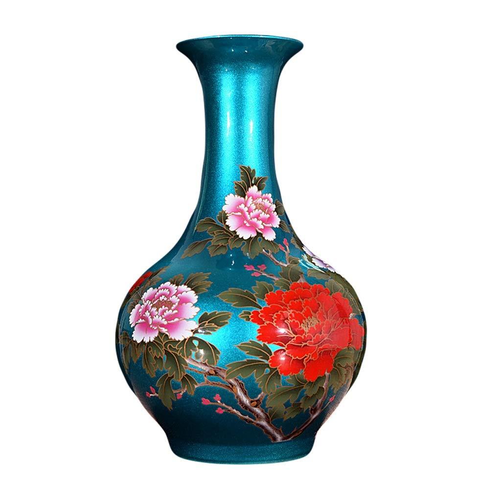 MAHONGQING 花瓶セラミッククリスタルグレーズ黄金の花オープンリッチ牡丹花瓶中国風のリビングルームのホームクラフトの装飾品 (Color : Blue) B07RZCC8QZ Blue