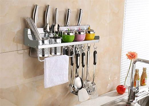 ... de aluminio estante para cocina estante condimentos suministros de cocina utensilios de almacenamiento estante de pared colgante toalla colgando ideas: ...