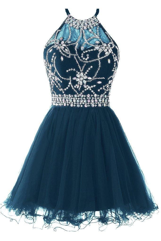 Teal Musever Women's Halter Short Homecoming Dress Beading Tulle Prom Dress