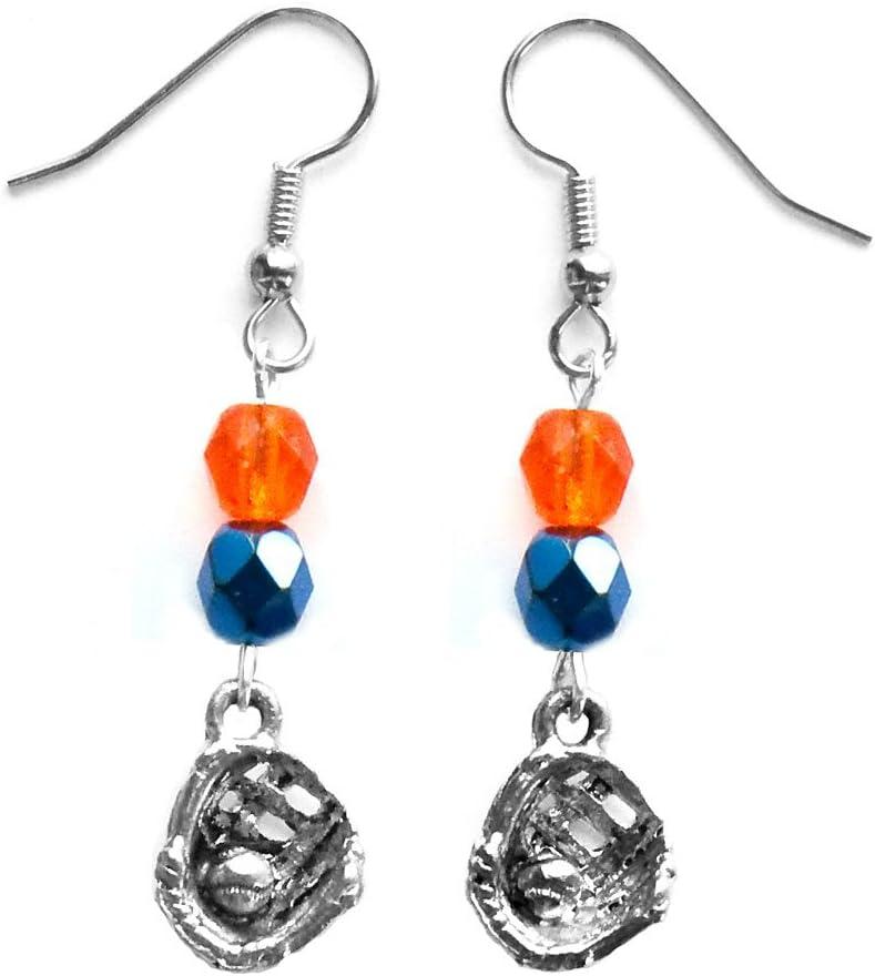 Softball Glove /& Ball Softball Earrings Team Colors Orange /& Navy Blue