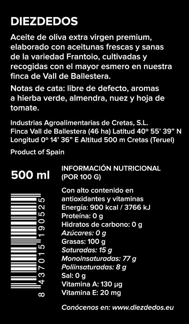 Frantoio Diezdedos - Aceite de Oliva Virgen Extra Premium Gourmet - Caja de 6 botellas de 500 ml (pack de 6): Amazon.es: Alimentación y bebidas