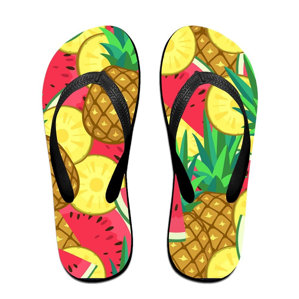 Flip Flop Slipper Seamless Pattern With Watermelon And Pineapple Summer Beach Slim Thong Sandal Outdoor Casual Footwear For Women Men Kids