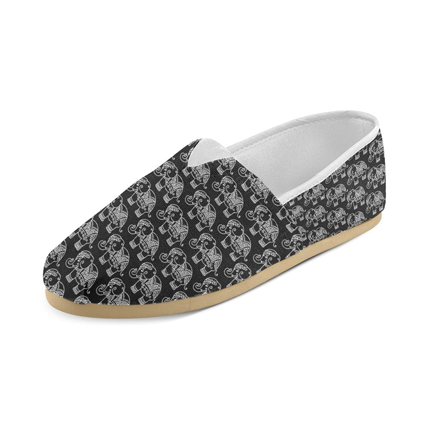 Shoes Black And White Elephants Pattern Casual Canvas Loafer For Girl Or Women