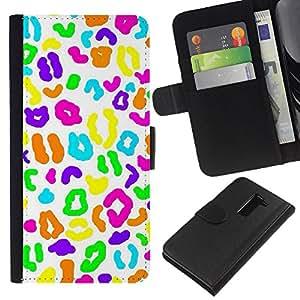 A-type (Candy White Biology Pattern) Colorida Impresión Funda Cuero Monedero Caja Bolsa Cubierta Caja Piel Card Slots Para LG G2 D800
