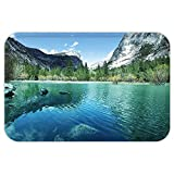 VROSELV Custom Door MatCountry Decor Collection Mirror Lake in Yosemite Scenic Picture with MountainLakeside TreeWaterscape Turquoise Blue
