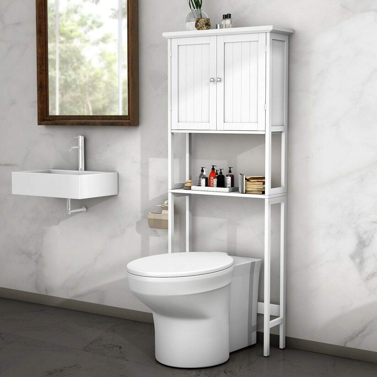 BestComfort Free Standing Over-The-Toilet Space Saver, Bathroom Cabinet Organizer Over Toilet,Storage Cabinet with Adjustable Shelf for Bathroom by BestComfort