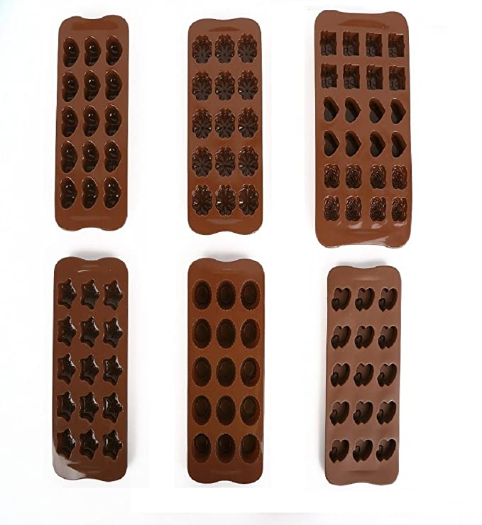 Triplespark 3D Molde Bandejas Seguridad Alimenticia de Silicona Moldes para Chocolate Decoración de Torta Candy Cookies Hornear Molde de Hielo (Juego de 6): ...