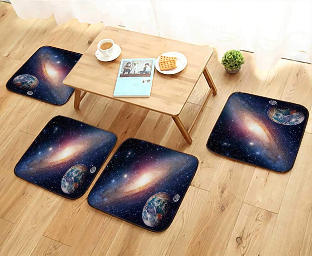 UHOO2018 Home Chair Set Astrology Astronomy Earth Moon Space Bang Solar System Planet Machine-Washable W21.5 x L21.5/4PCS Set