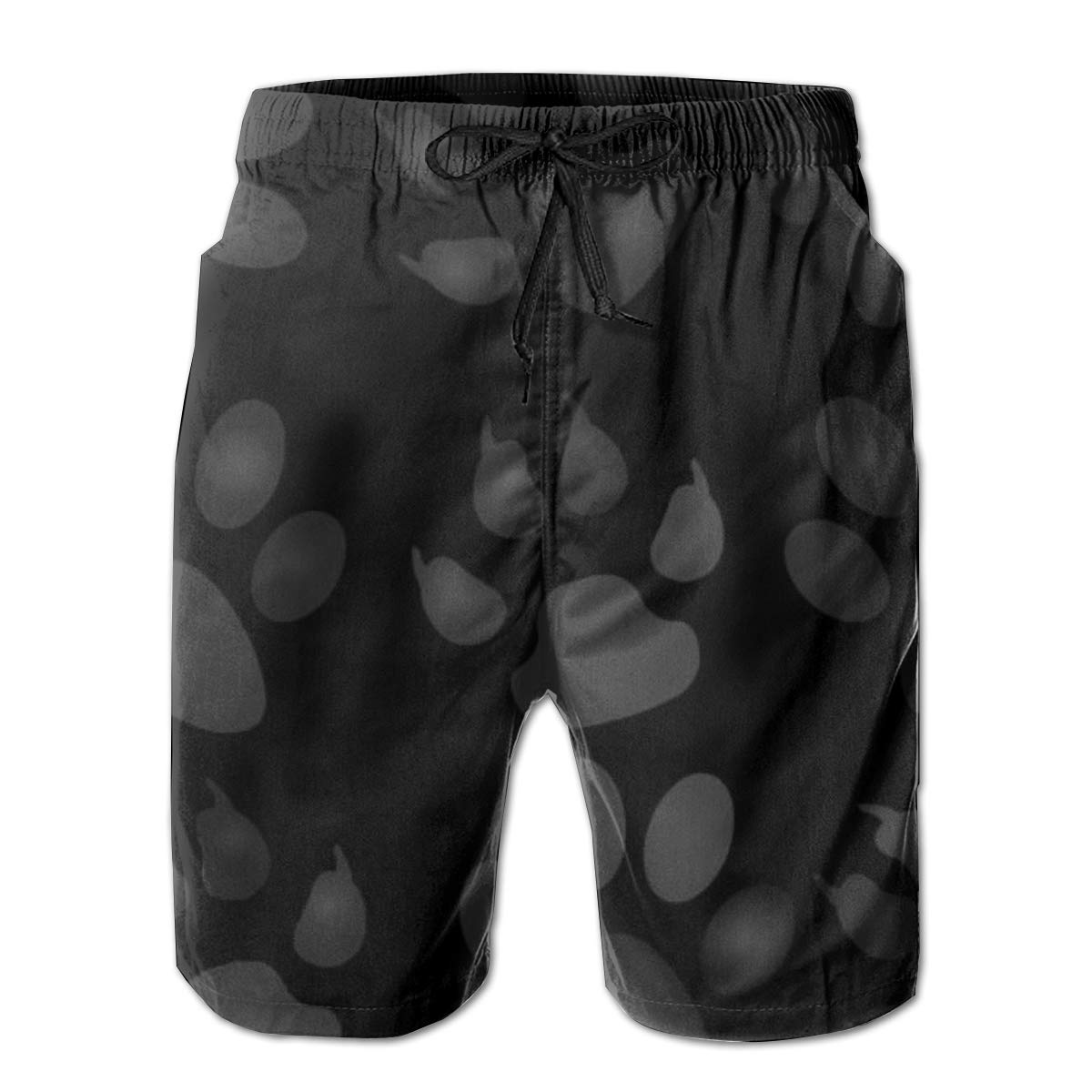 Black Dog Paws Summer Holiday Mesh Lining Swimwear Board Shorts with Pockets Mens Beach Shorts Quick Dry